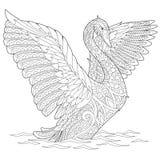 Zentangle stiliserade svanen Fotografering för Bildbyråer