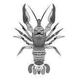 Zentangle stiliserade svarta languster Hand dragen kräfta royaltyfri illustrationer