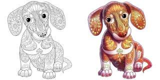 Zentangle stiliserade taxhunden Arkivfoton