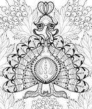 Zentangle stiliserade Turkiet med höstsidor för tacksägelsen da Arkivfoton