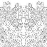 Zentangle stiliserade två älskvärda giraff med en hjärta Royaltyfri Foto