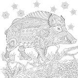 Zentangle stiliserade vildsvinet Arkivbilder