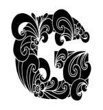 Zentangle stilisierte Alphabet Buchstabe G in der Gekritzelart Hand gezeichneter Skizzeschrifttyp Stockbild