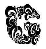 Zentangle stilisierte Alphabet Buchstabe G in der Gekritzelart Hand gezeichneter Skizzeschrifttyp Stockfotos