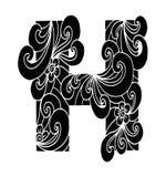 Zentangle stilisierte Alphabet Buchstabe H in der Gekritzelart Stockbild
