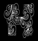 Zentangle stilisierte Alphabet Buchstabe H in der Gekritzelart Stockfotos