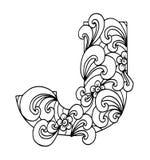 Zentangle stilisierte Alphabet Buchstabe J in der Gekritzelart Lizenzfreie Stockfotos