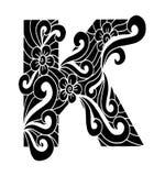 Zentangle stilisierte Alphabet Buchstabe K in der Gekritzelart Lizenzfreie Stockfotos