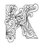 Zentangle stilisierte Alphabet Buchstabe K in der Gekritzelart Stockfotos