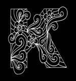 Zentangle stilisierte Alphabet Buchstabe K in der Gekritzelart Stockfotografie