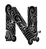 Zentangle stilisierte Alphabet Buchstabe N in der Gekritzelart Lizenzfreies Stockfoto
