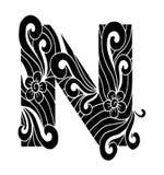 Zentangle stilisierte Alphabet Buchstabe N in der Gekritzelart Stockfotos