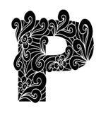 Zentangle stilisierte Alphabet Buchstabe P in der Gekritzelart Stockfotos