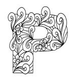 Zentangle stilisierte Alphabet Buchstabe P in der Gekritzelart Lizenzfreie Stockbilder