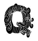 Zentangle stilisierte Alphabet Buchstabe Q in der Gekritzelart Stockfotos