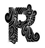 Zentangle stilisierte Alphabet Buchstabe R in der Gekritzelart Stockfotografie