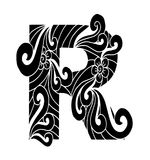 Zentangle stilisierte Alphabet Buchstabe R in der Gekritzelart Lizenzfreies Stockfoto