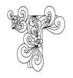 Zentangle stilisierte Alphabet Buchstabe T in der Gekritzelart Hand gezeichneter Skizzeschrifttyp Stockbild