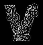 Zentangle stilisierte Alphabet Buchstabe V in der Gekritzelart Hand gezeichneter Skizzeschrifttyp Lizenzfreie Stockfotografie