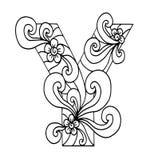 Zentangle stilisierte Alphabet Ypsilon in der Gekritzelart Hand gezeichneter Skizzeschrifttyp Stockbild