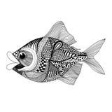 Zentangle stilisierte Fische Hand gezeichnete Gekritzelvektorillustration I vektor abbildung
