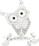 Zentangle stilisierte gezeichnete die Eulenschwarzweiss-Hand, Vektor Stockfotos