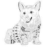 Zentangle stilisierte Hund Hand gezeichnete Spitzevektorillustration Stockfotos
