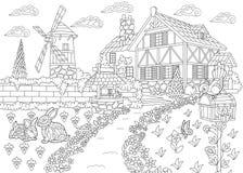 Zentangle stilisierte Landschaftsvilla lizenzfreie abbildung