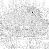 Zentangle stilisierte Nilpferd (Flusspferd)
