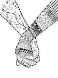 Zentangle style - couple holding hands, swirl, flower, vector, i Royalty Free Stock Images