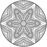 Zentangle Style Mandala Black And White Ornament. Contrast tribal round pattern. Fantasy ethnic ornament for coloring page. Doodle style graphic. circle design Royalty Free Illustration