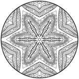 Zentangle Style Mandala Black And White Ornament Stock Photo