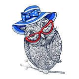 Zentangle style owl in red eyeglasses and blue vintage hat. Stock Photos