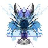 Zentangle a stylisé des écrevisses de homard dans le cadre de triangle avec le wate Photos libres de droits