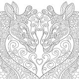 Zentangle a stylisé deux belles girafes avec un coeur illustration de vecteur