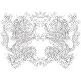 Zentangle a stylisé deux lions avec une couronne Photos libres de droits
