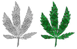 Zentangle a stylisé la couleur et noircit la feuille du cannabis Photo libre de droits
