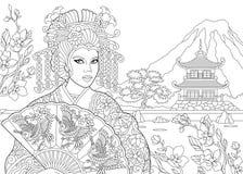 Zentangle a stylisé la femme de geisha Photos libres de droits