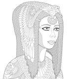 Zentangle a stylisé la Reine Cléopâtre Images libres de droits