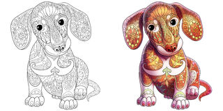 Zentangle a stylisé le chien de teckel Photos stock