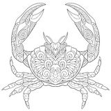 Zentangle a stylisé le crabe illustration libre de droits