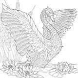 Zentangle a stylisé le cygne illustration stock