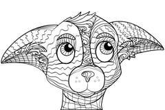 Zentangle a stylisé le griffonnage fleuri de la tête de chien de chiwawa Image libre de droits