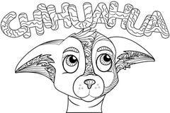 Zentangle a stylisé le griffonnage fleuri de la tête de chien de chiwawa Photographie stock