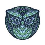 Zentangle a stylisé le hibou Illustration animale modelée par aspiration de main Images libres de droits