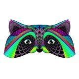 Zentangle a stylisé le raton laveur de couleur Photos stock