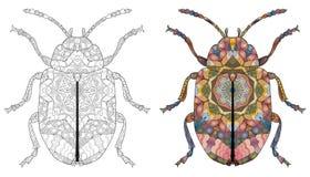 Zentangle a stylisé le scarabée Illustration décorative tirée par la main de vecteur illustration de vecteur