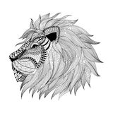 Zentangle a stylisé le visage de lion Illustrat tiré par la main de vecteur de griffonnage Photos libres de droits