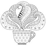 Zentangle stylized Ð¡up of tea with steam. Hot beverage with artistically doodle elements. Ethnic ornamental vector illustration for tattoo, t-shirt print vector illustration