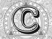 Zentangle stylized alphabet letter c.. Handrawn alphabetical doodles in zentangle stylized use for antistress coloring book novel Royalty Free Stock Image